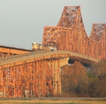 Westbound UP grain train on Mississippi River bridge