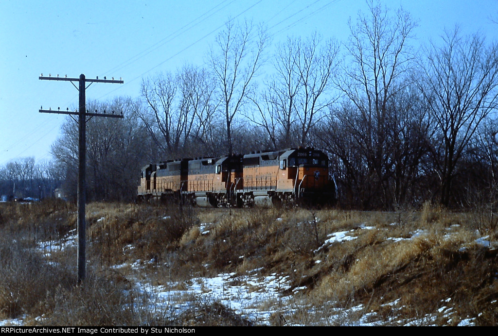 Milwaukee Road power move at Ottumwa, Iowa.